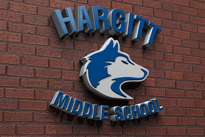 3D logo design for Hargitt Middle School