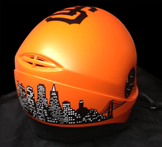 Custom San Francisco Giants graphics on a sky diving helmet