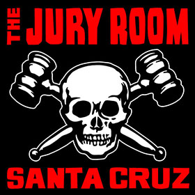A new sticker design for The Jury Room, Santa Cruz