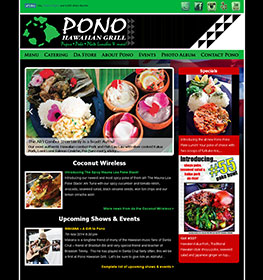 A custom Wordpress website for Pono Hawaiian Grill. www.ponohawaiiangrill.com